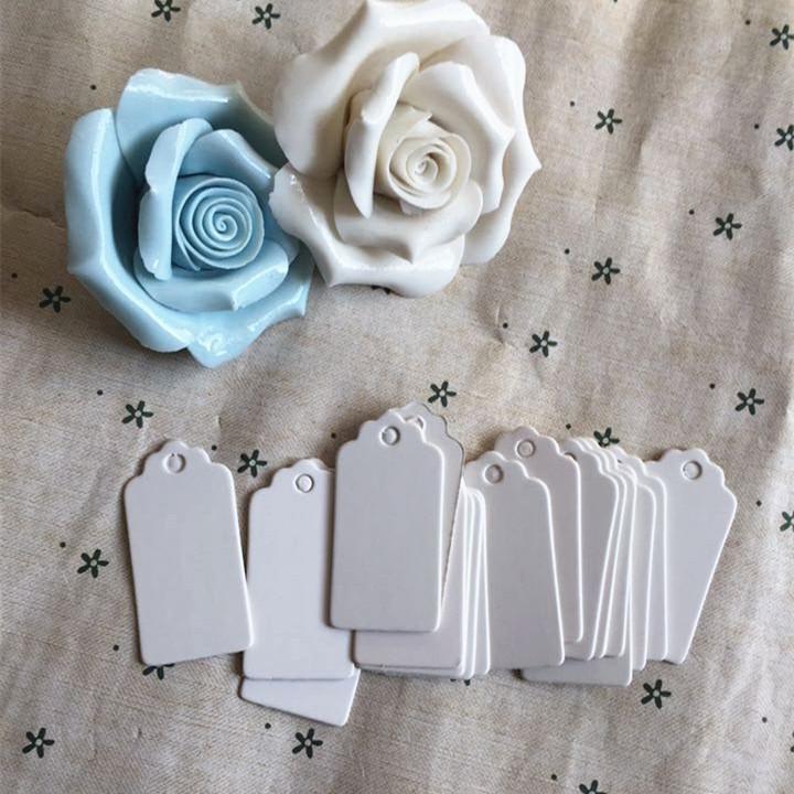 Presente De Papel Tag Cartão Branco Scallop Festival Decoração Do Casamento Em Branco Mini Etiqueta Lage 2 * 4 cm