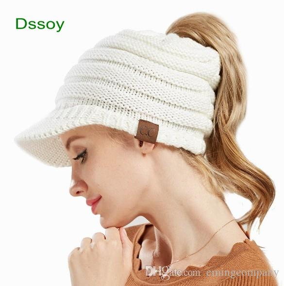 3289f606f33 Fancy Designer Women Knitted Hats Slouchy Cable Hair Bonnets Brimmed ...