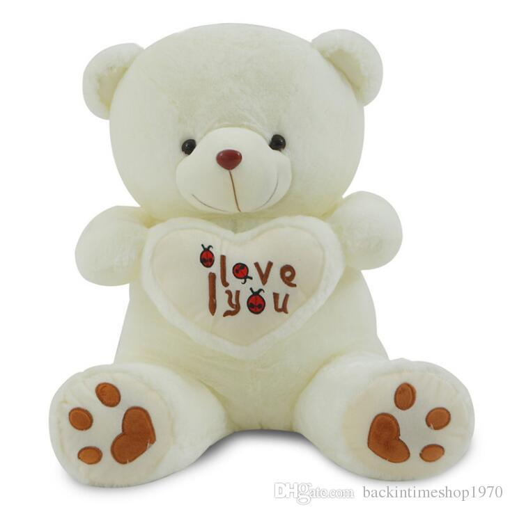 Big I Love You Teddy Bear Large Stuffed Plush Toy Holding LOVE Heart Soft Gift for Valentine Day Birthday Girls' Brinquedos