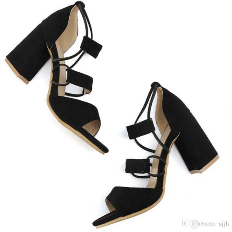 SJJH 2018 Sandals with Chunky Heel and Open Toe Elegant Working Dressy Gladiator Shoes for Fashion Woman with Large Size Available A374