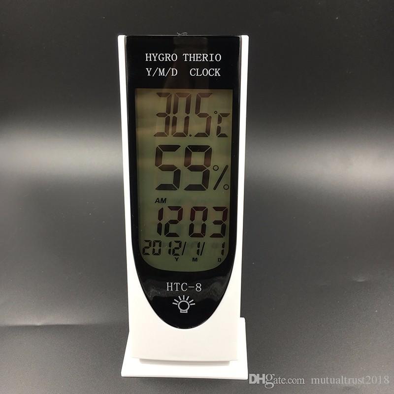 متعددة الوظائف ميزان الحرارة الرقمي الرطوبة المنبه تاريخ مضيئة درجة الحرارة الرطوبة شاشة lcd الحرارية الرطوبة HTC-8 الأبيض 100