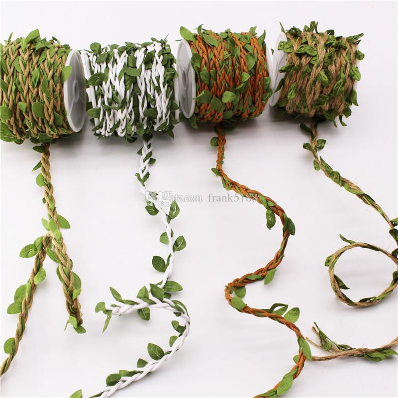 10 Meters/Roll DIY Artificial Leaves Twine Wax String With Leaf Silk Leaves Flowers Garlands Hemp Rope Wedding Party Decoration