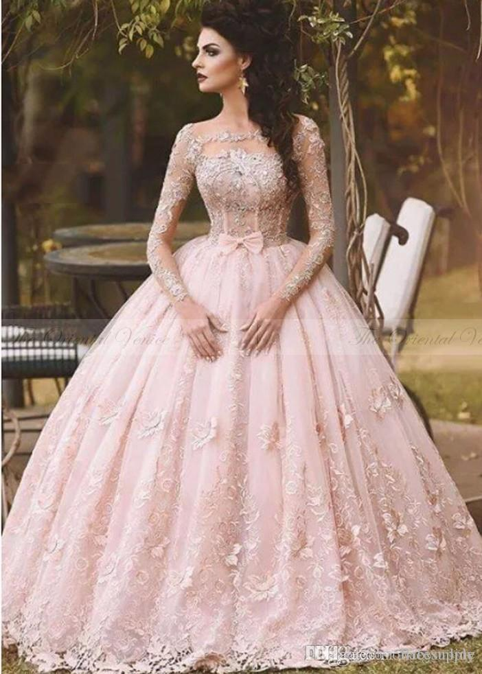 7dd615b196 Vestidos 2018 Blush Pink Lace Ball Gown Quinceanera Dress Long Sleeves Boat  Neck 3D Flora Princess Bridal Gowns Arabic Dubai BA5448 Peach Quinceanera  ...