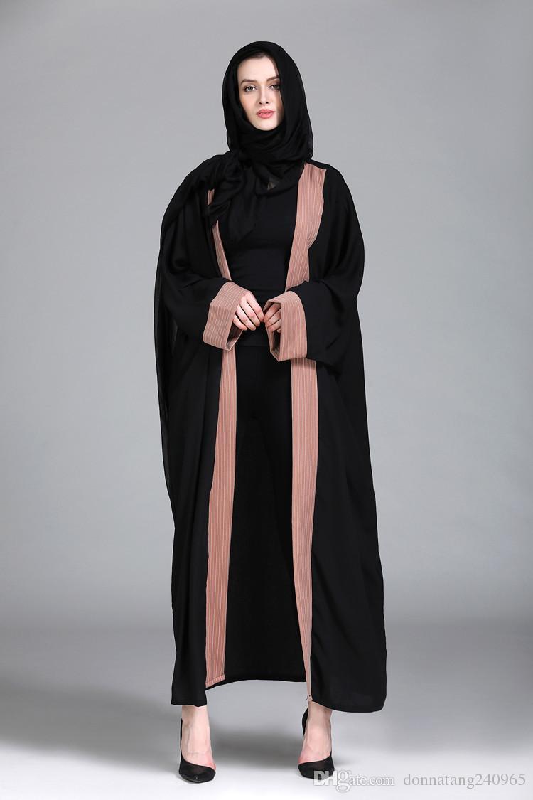 5342871d5a Compre Mulheres Cardigan Muçulmano Abaya Vestido Listrado Painéis Impressão  Roupas Islâmicas Turcas Oriente Médio Robes Árabe Vestido Longo Dubai Kaftan  De ...