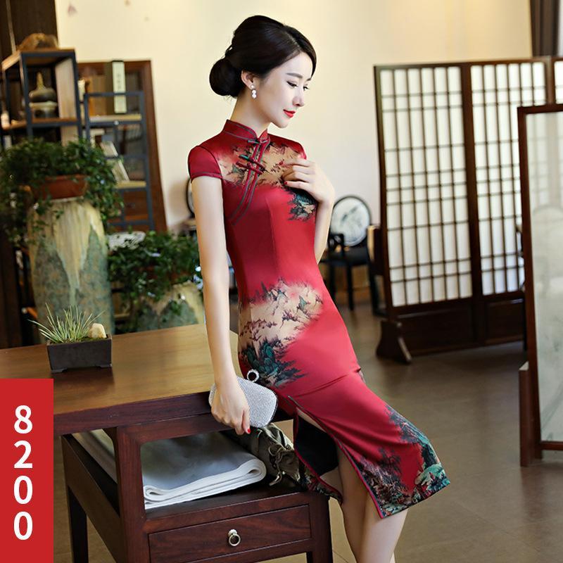 4ef2f5267 2019 Chinese Burgundy Cheongsam Oriental Style Dresses Elegant Women  Modified Modern Qipao Dress Chinese Traditional Dress S 3XL From Sincha, ...
