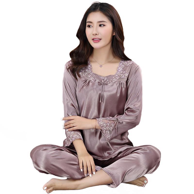 0fa04da6d9 Spring Autumn New Women Pajamas Set Casual Home Wear Sexy Lady Lace Flower  Nightwear Shirt Pant Plus Size Sleepwear Suit UK 2019 From Rudelf
