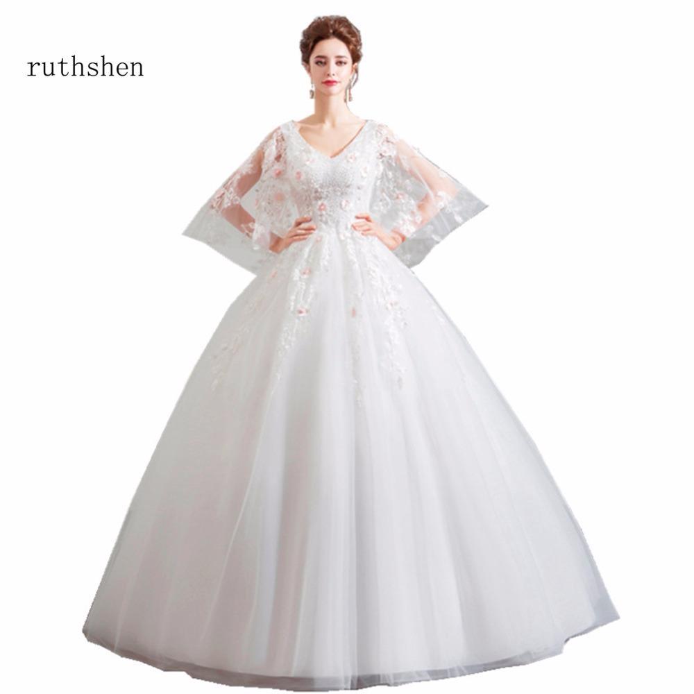 Wholesale Wedding Dresses Luxury V Neck Lace Appliques Beaded Tulle ... 1e22eadb1a4e