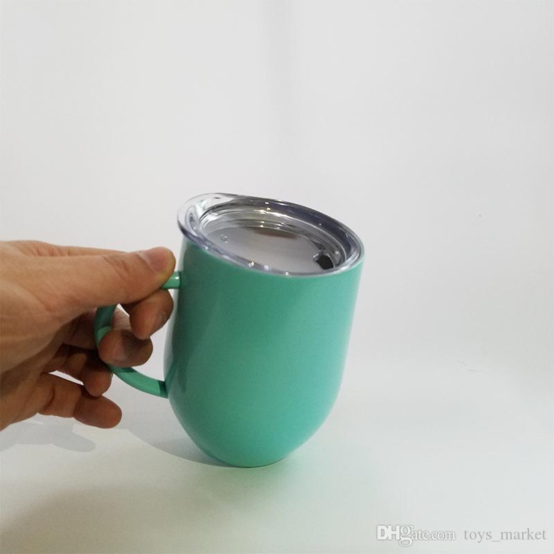 12oz Egg Cup Wine Glass With Handle Double Wall stainless steel tumbler Thermos Stemless Powder Coated Travel Beer Mugs