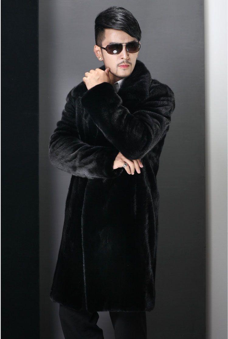 S-6XL kış ceket Uzun sıcak ceket erkek giyim taklit kürk Artı boyutu rahat tüm maç palto turn-aşağı yaka giyim
