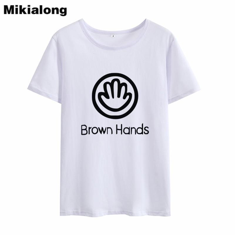676b552cc Women'S Tee Oln 2018 Brown Hands Letter Ulzzang T Shirt Women Tops Tee Shirt  Femme Graphic Hipster Ladies Tops Women Cotton T Shirt Witty Tee Shirts Tee  ...