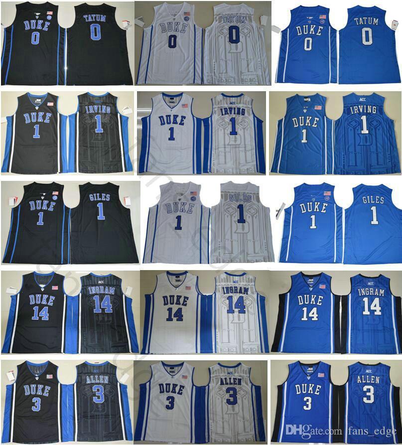 a6b41fe22f0 2019 NCAA Duke Blue Devils College 0 Jayson Tatum 1 Kyrie Irving Harry  Giles 14 Brandon Ingram Grayson Allen Williamson Barrett Basketball Jersey  From ...