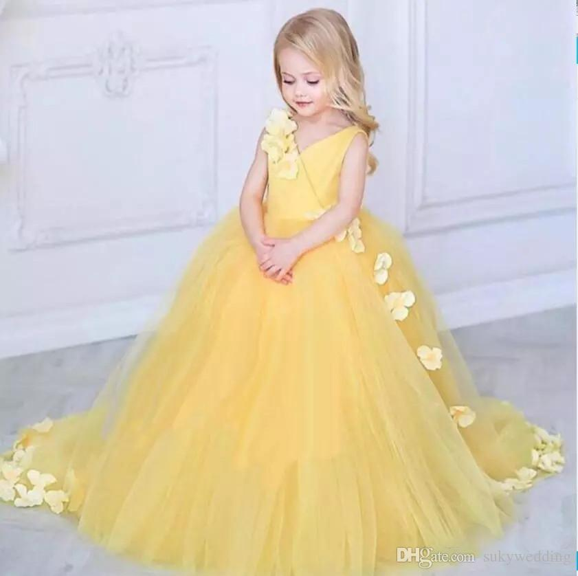 7863b211f Yellow Ball Gown Flower Girls Dresses V Neck Appliques Petals Tulle ...