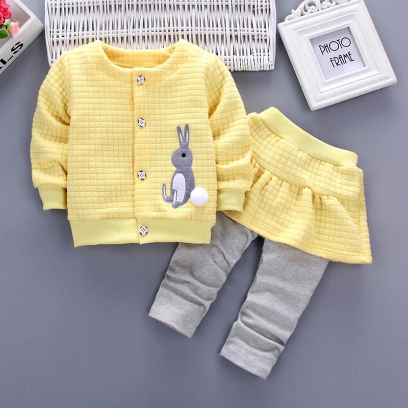 HH Criança roupa da menina Outono Manga Longa de duas peças set Roupa Infantil Crianças Terno coelho crianças roupas para venda 1 2 3 Anos