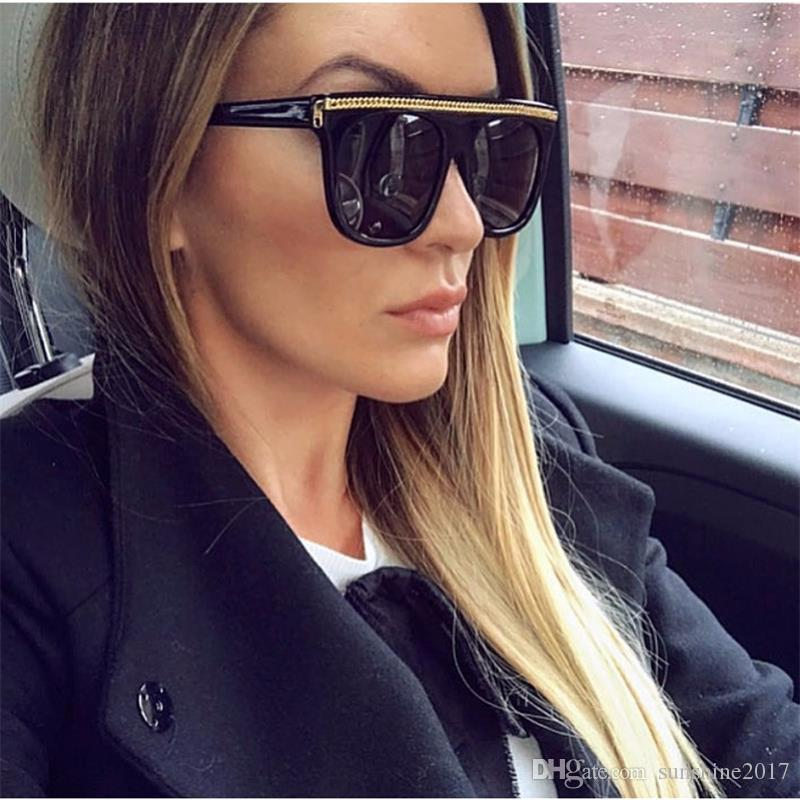 0583d9c298 Gold Chain Flat Top Sunglasses Women Fashion Designer Oversize Black  Sunglasses Lady Celebrity Vintage Shaped Sun Glasses Female Native  Sunglasses Wholesale ...