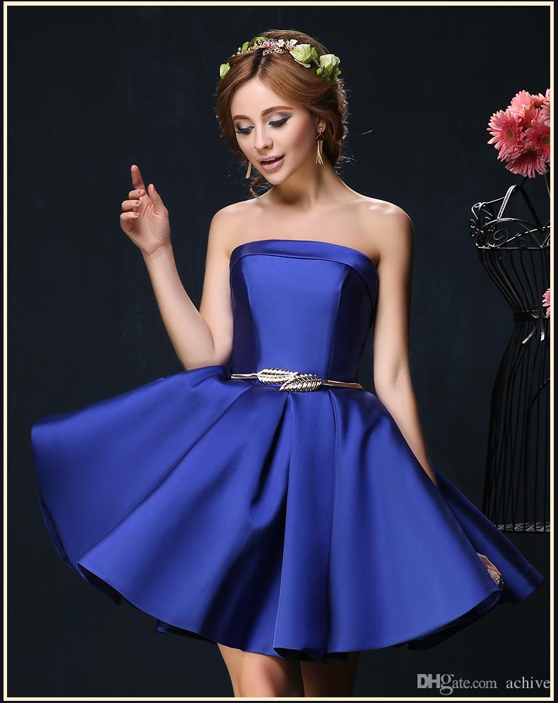 New Arrival Satin Red Blue Short Homecoming Dresses Sash Corset Cheap Prom Dresses 2020 Mini Cocktail Party Gowns A Line