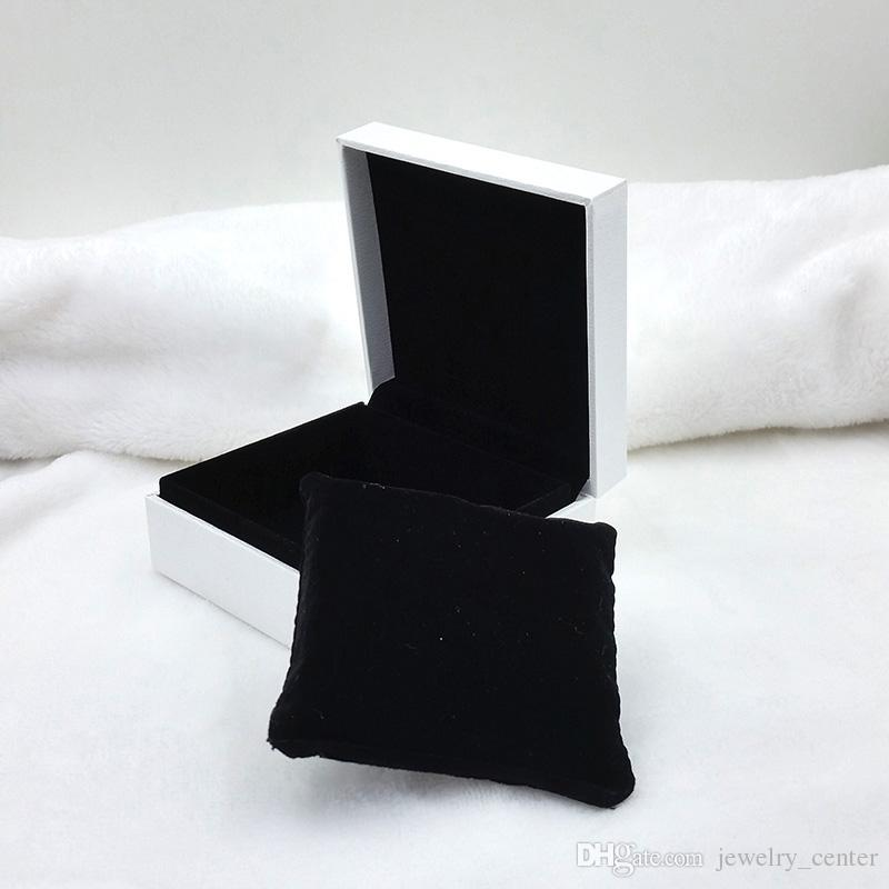 Original White Jewelry Packaging Boxes with Black pillow for Pandora Bracelet Bangles Necklaces Earrings Display Jewelry Box