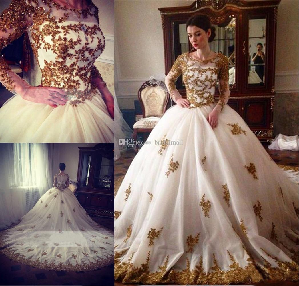 Discount Gorgeous 2019 Gold Sequins Arabic A Line Wedding Dresses With Long Sleeves Beaded Lace Top African Bridal Gowns Plus Size Vestidos De Novia Mermaid: Gorgeous African Wedding Dresses At Websimilar.org