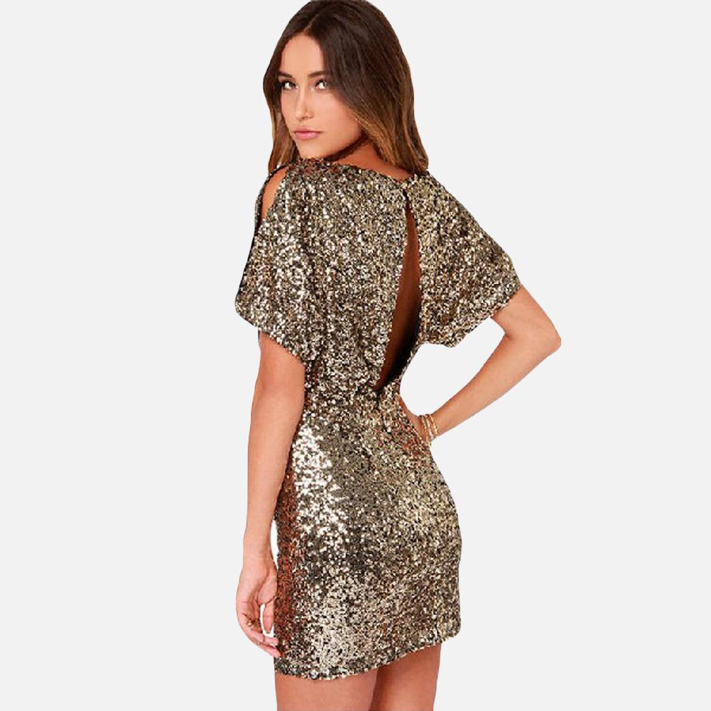 c5b6f86ed16 Sexy Women Sparkling Gold Sequin Dress Split O Neck Short Sleeves Bodycon  Dress Nightwear Back Cut Out Party Mini Dress Vestido Party And Evening  Dresses ...