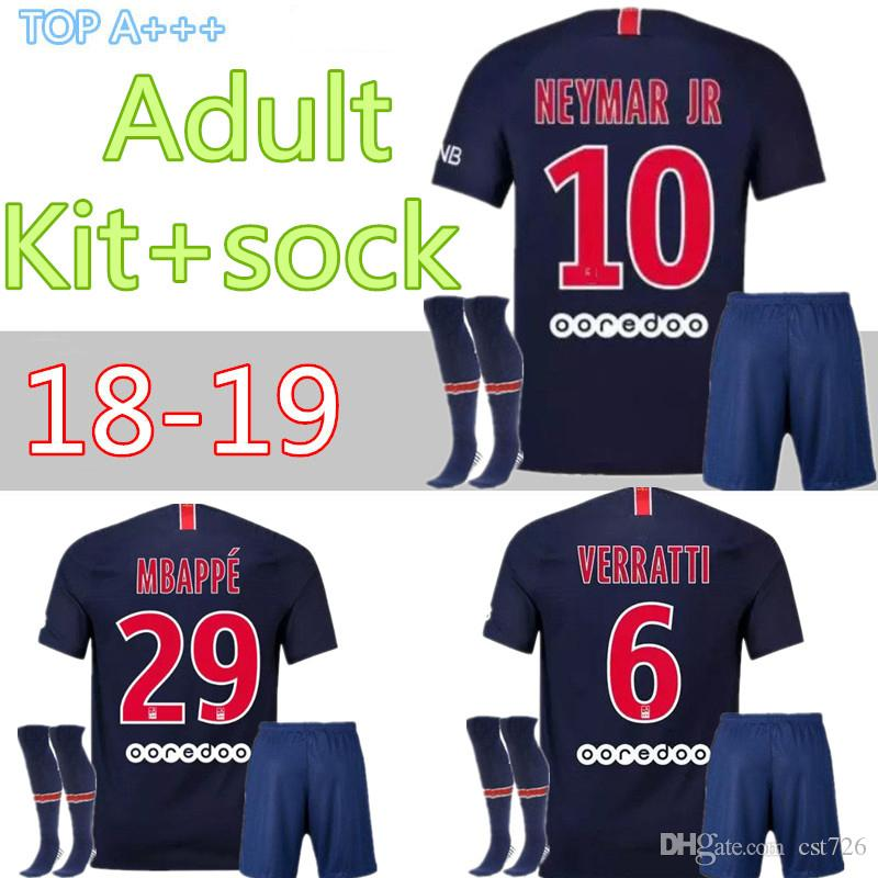 new concept 2ee5a 8dab3 2018 2019 adult kits socks neymar jr soccer Jerseys 18 19 psG mbappe  VERRATTI CAVANI DI MARIA PASTORE MAILLOT DE FOOT FOOTBALL SHIRT