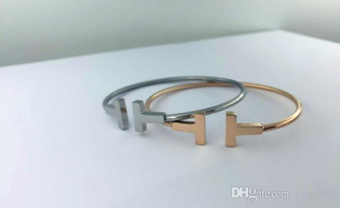 The new double-T letter opening bracelet 18k rose gold-plated European and American fashion wild female bracelet