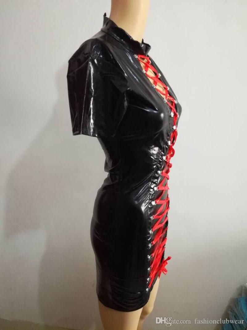 Fetish Black Faux Leather Dress Sexy Latex Mini Dress Tie Up With Red Lace Bandage Bodycon Dress Night Party Clubwear