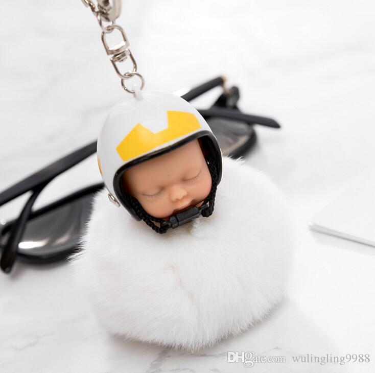 Fantasy Новый Пушистый Кролик Мех Помпом Мотоцикл Шлем Спящий Детский Ключ Цепь Женщины Кукла Кукла Beychain Автомобиль Главная Игрушка MOQ 100 шт.