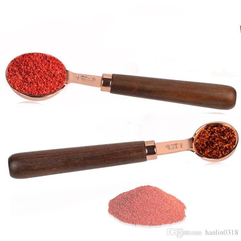 Stainless Steel Measuring Spoon Wood Handle Dry Measurement Baking Tool Soup Teaspoon Spoon Home Kitchen Gadget