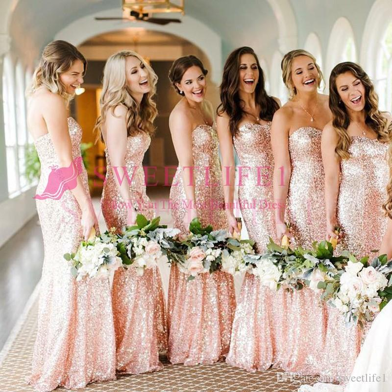 Sparkly Rose Gold Sequins Bridesmaid Dresses 2019 New Sweetheart Neck Mermaid For Garden Wedding Maid Of Honor Wedding Guest Gown Custom