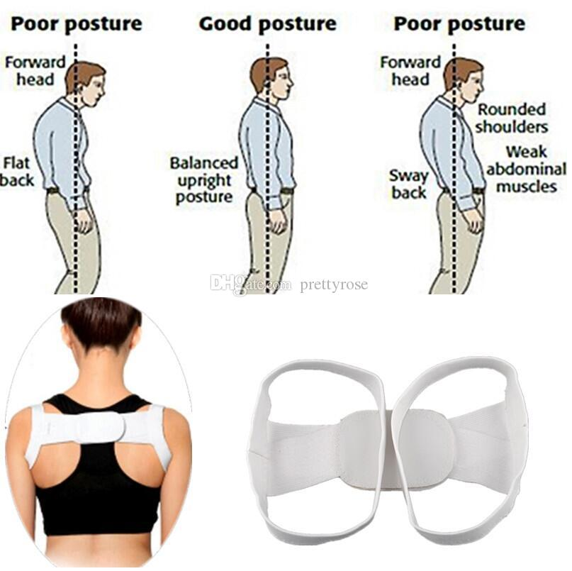Unisex White Back Brace Soporte Shoulder Belt Corrector Rectificar Enderezar Posture Correction Orthopedic Beauty Corset Back Belt DHL