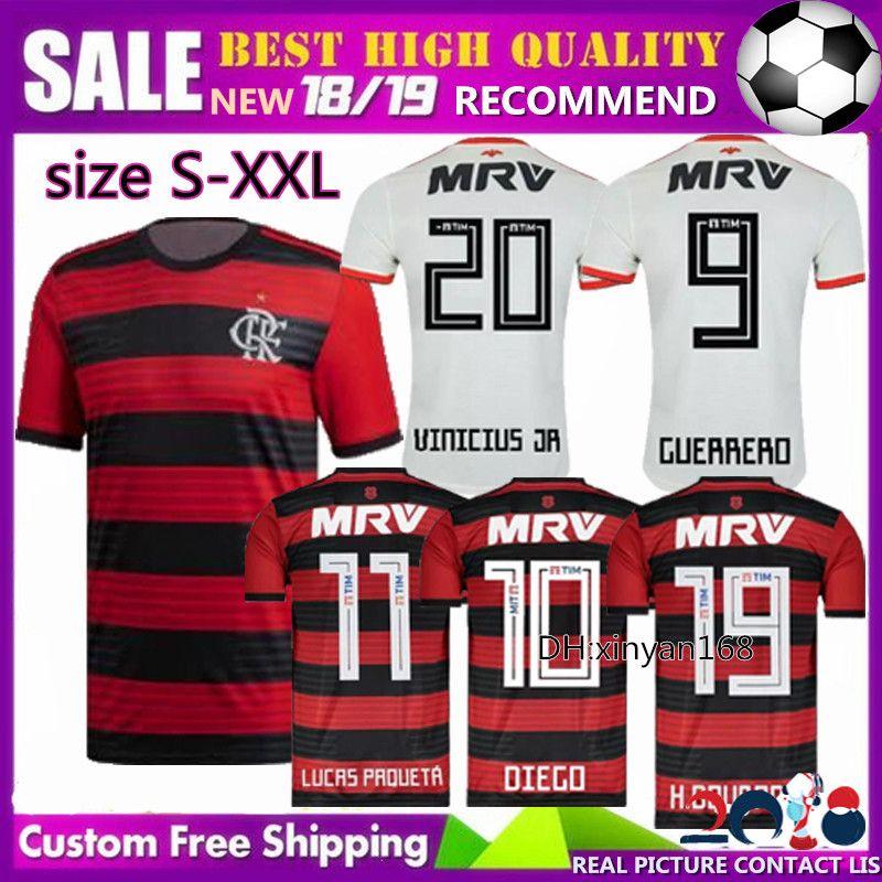b0c320629 Online Cheap Free Ship 2018 2019 New Cr Flamengo Home Away Soccer Jerseys  18 19 E. Ribeiro Guerrero Diego Zico Vinicius Jr Football Shirt Brazil By  ...