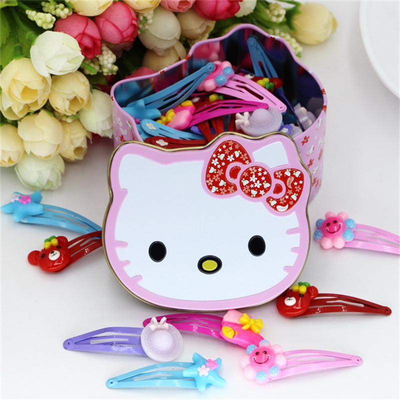 e34873631 Hello Kitty Girls Hair Accessories Gift Box Cute Hairpins Cartoon Barrette  Bow Hairpin New Flower Hair Clips For Kids Sparkly Hair Accessories Make  Baby ...