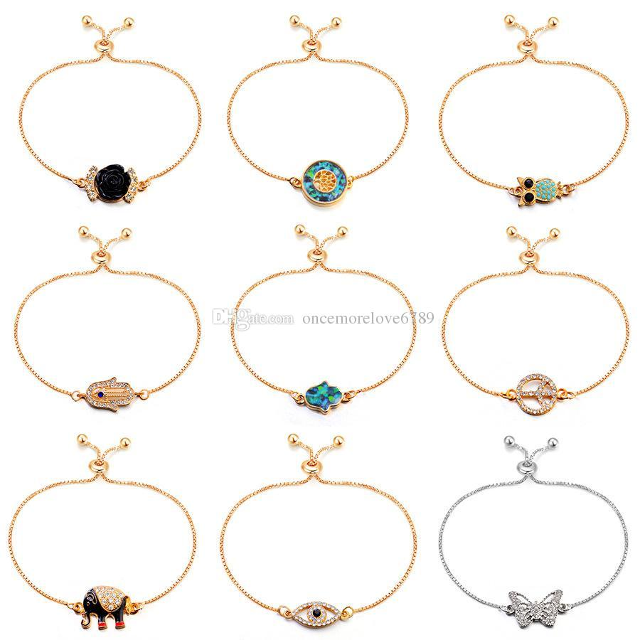 Bracelets for Women crystal Owl Hamsa Hand of Fatima Elephant Tree Butterfly Rose Flower 18K gold Plated Bracelets Jewelry for women