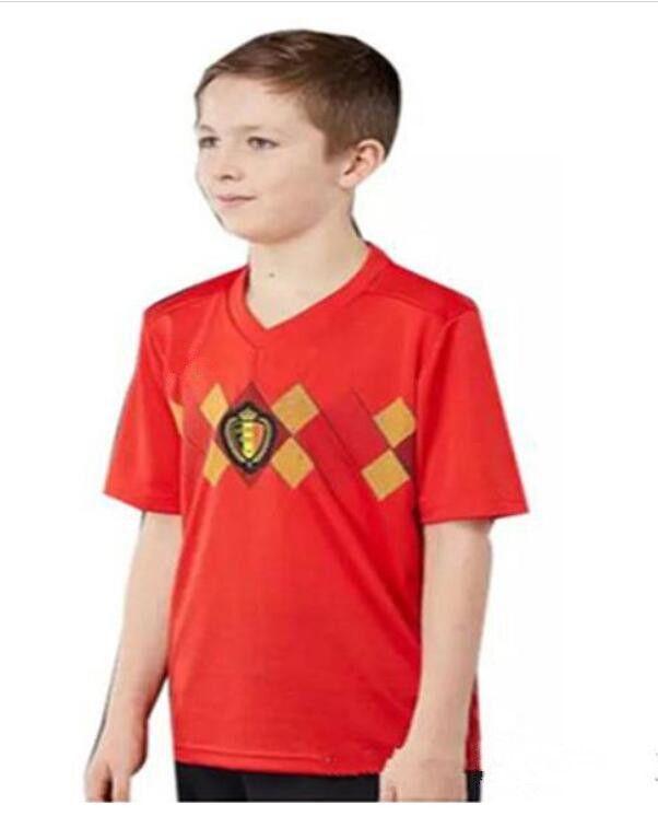 839cd797f72 2018 world cup Belgium soccer Jersey Kids Kit 2018 Belgique home red Soccer  Jerseys HAZARD Belgien Child Soccer Shirts uniform jersey+shorts