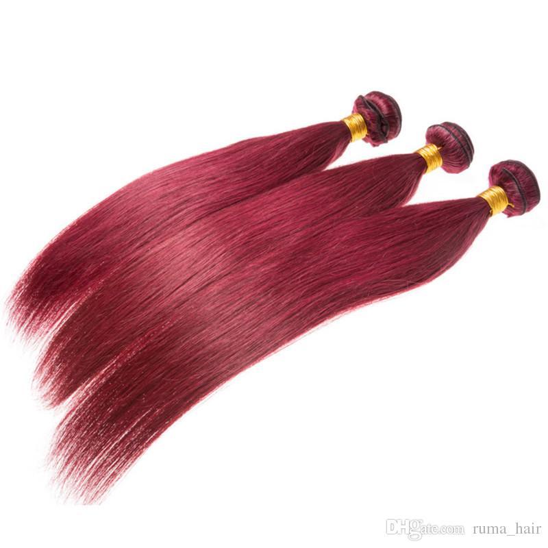 Silk Straight Color 99j Burgundy Human Hair For Black Women 99j Virgin Hair Weaves Straight Malaysian Remy 3Bundles Hair Wefts Free Ship