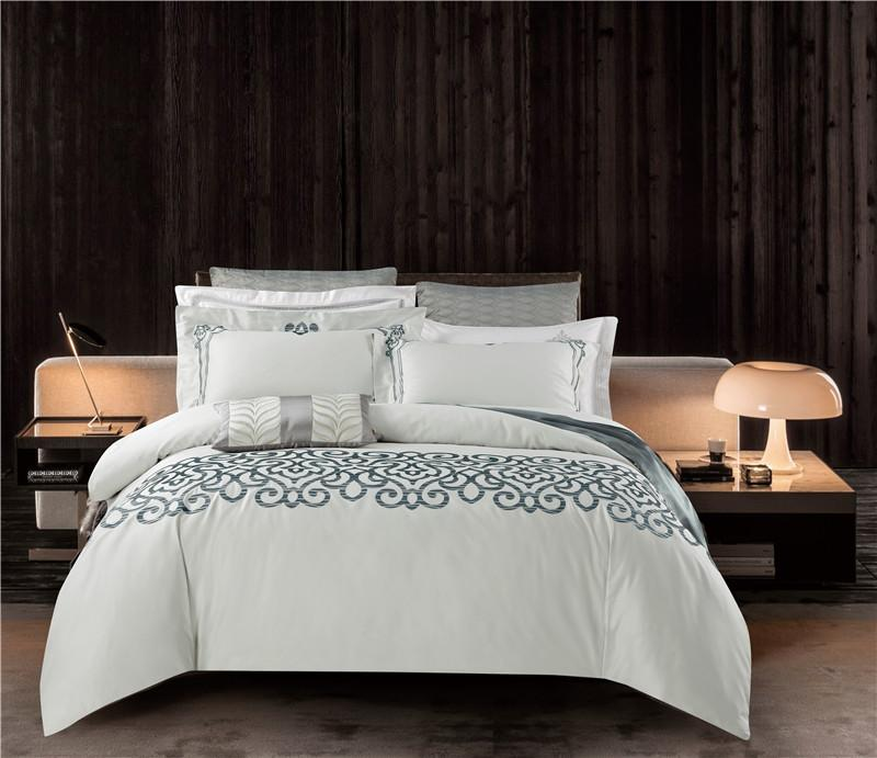 White Classic Grace Luxury 100s Pima Cotton Silky Satin Bedding Set Duvet  Cover Bed Linen Bed Sheet Pillowcase King Queen Queen Bedding Ensembles  Bedding ...