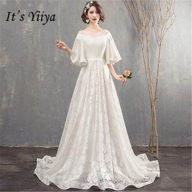 dc17ecad21 Compre Es Yiiya O Cuello De La Boda Vestido Mancha De Encaje Patchwork Boda  Al Óleo Crecer Vestidos De Novia Casamento WH051 A  428.01 Del  Tengdingwedding ...