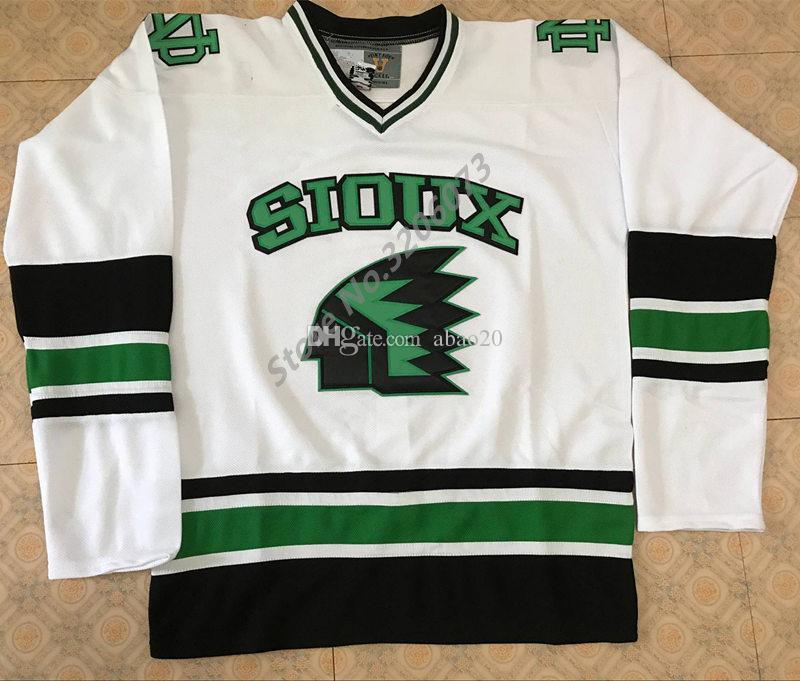 North Dakota Fighting Sioux University White Retro Ice Hockey Jersey Mens  Stitched Custom Any Number And Name Jerseys UK 2019 From Abao20 99e6ea6c7