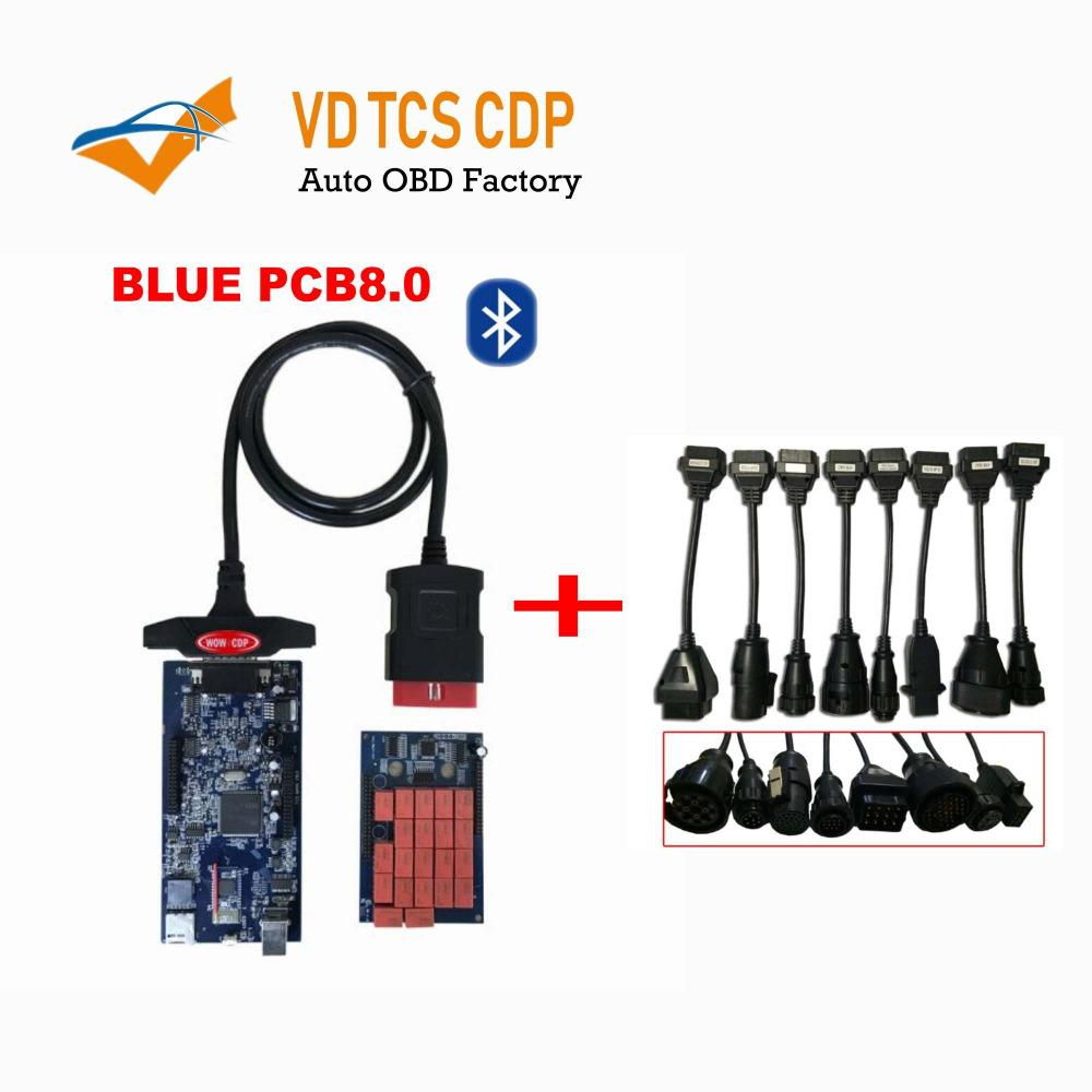 Newest design VD tcs CDP new vci with Bluetooth Diagnostic tools for CAR and TRUCK +full set 8 truck cables By DHL