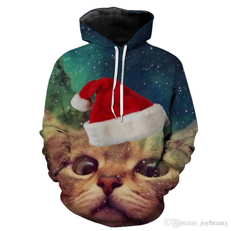 Großhandel Männer Hoodie Weihnachten Weihnachten Katze Galaxy 3D Full Print  Mann Kapuzen Sweatshirt Unisex Pullover Hoodies Long Sleeves Sweatshirts  Tops ... 8ceab6c86d
