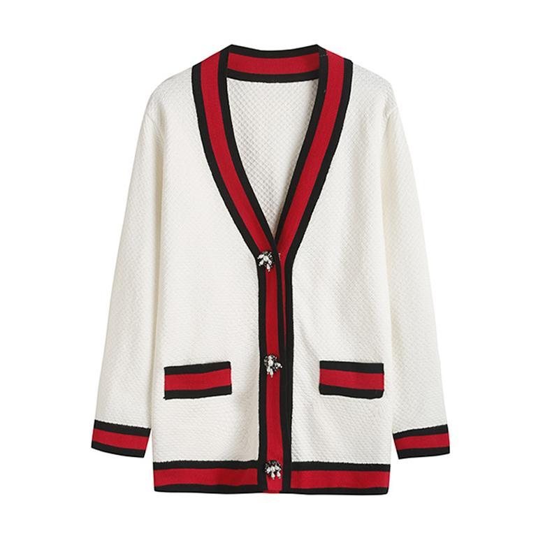 fa3e90825ed Compre Novo 2018 Outono Inverno Mulheres Tricô Cardigans Beading Patchwork  Com Decote Em V Magro Curto Camisola Breasted Camisolas Quentes De  Candice98