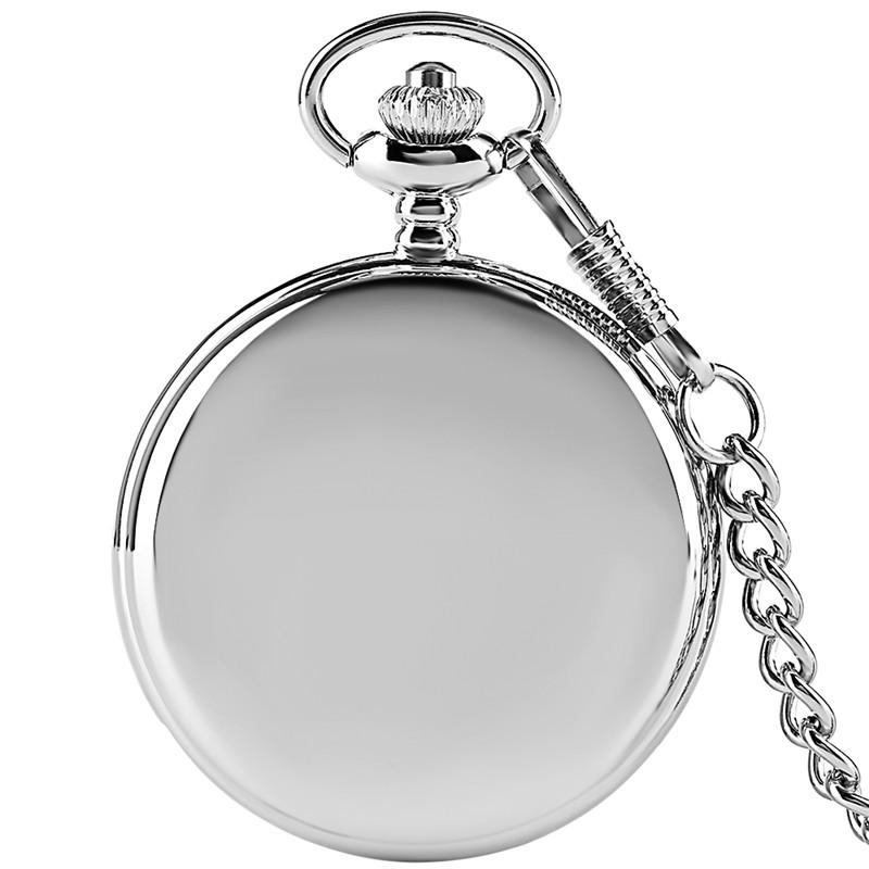 Silver/Black Smooth Cover Simple Quartz Pocket Watches with 30cm Chain Arabic Numerals Analog Clock Gift