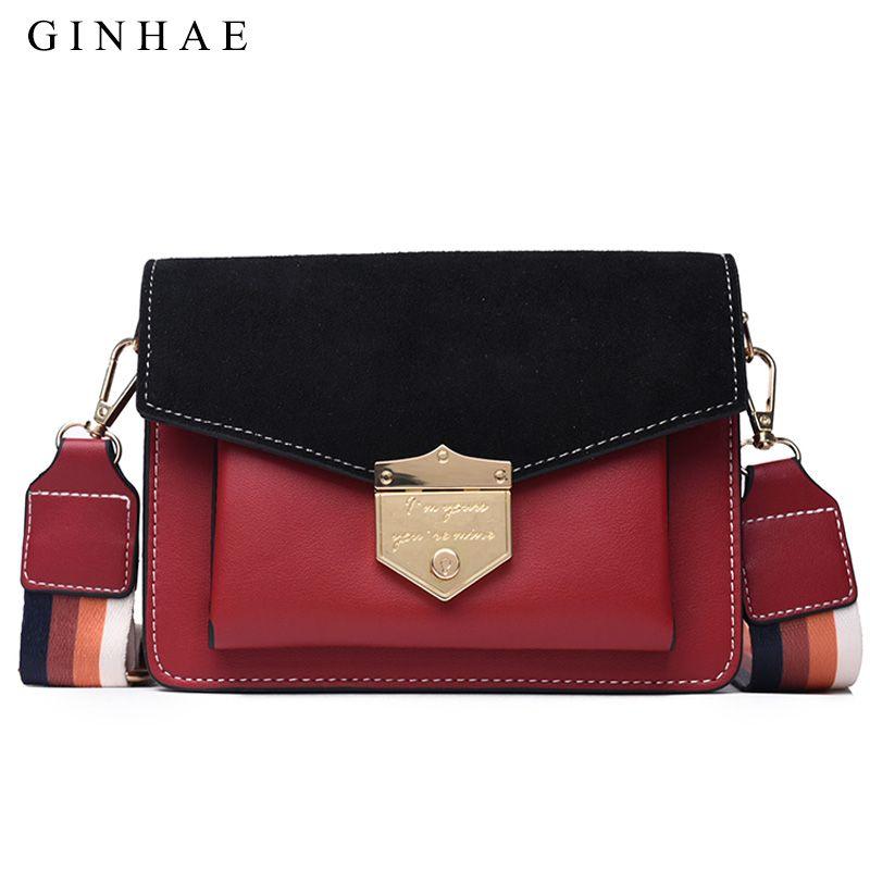 075604b9c9d0 Fashion Panelled Women Crossbody Bag Soft Pu Leather Luxury Wide ...