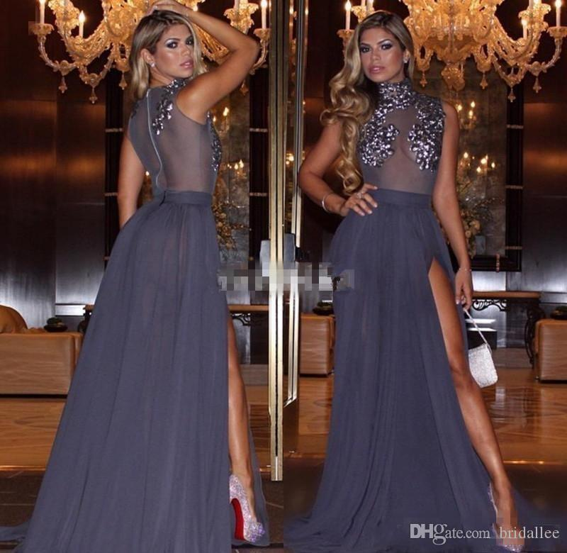 Paillettes haut du cou robes perlées de soirée voir à travers la mousseline de soie robes de bal divisées haute robes de dos pure tenue de soirée
