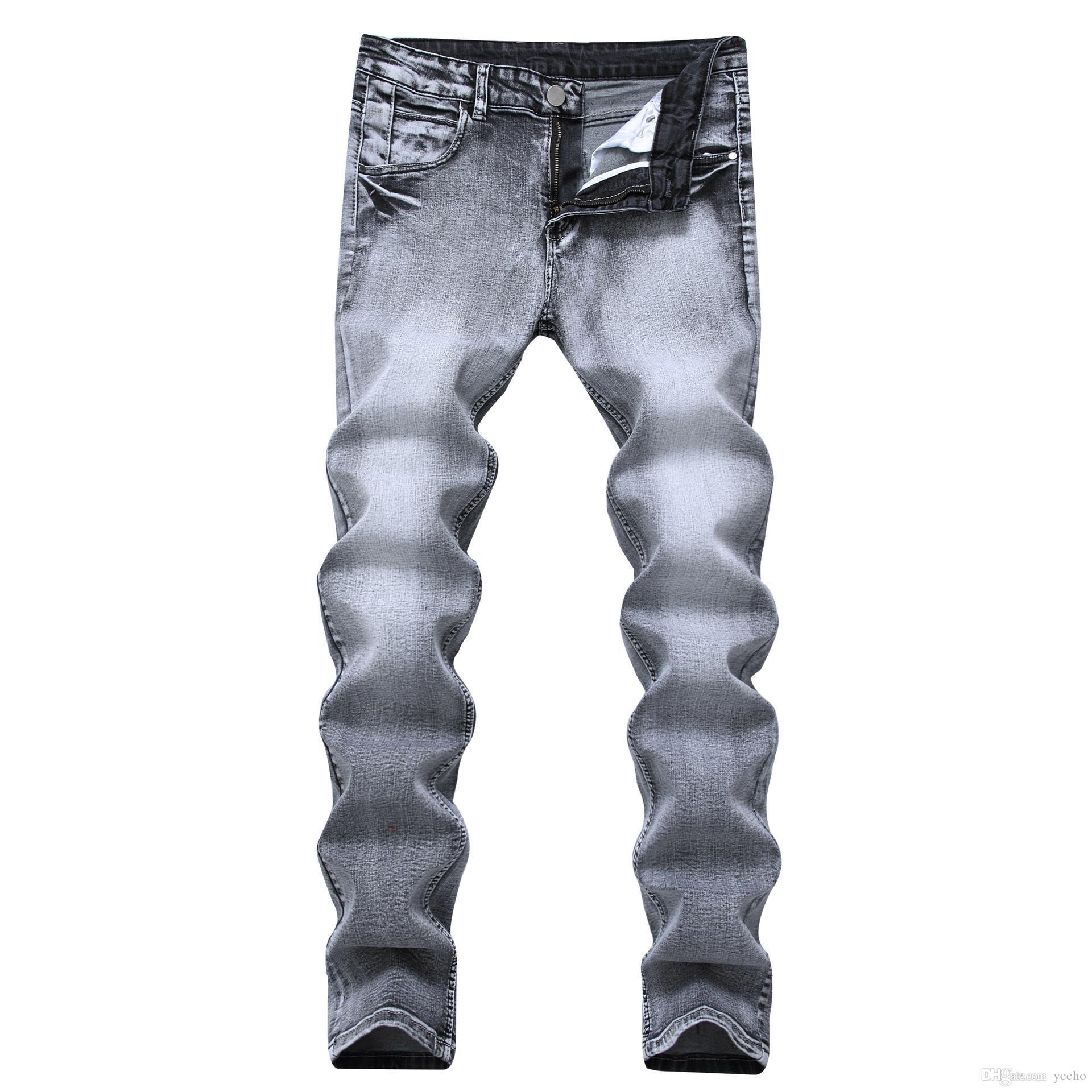 90a8cc30613c Acquista Jeans Stretch Grigio Chiaro Uomo Nostalgico Straight Slim Fit  Pantaloni Denim Elasticizzati Jeans Classici Pantaloni Cowboys Young M3 048  A $60.92 ...