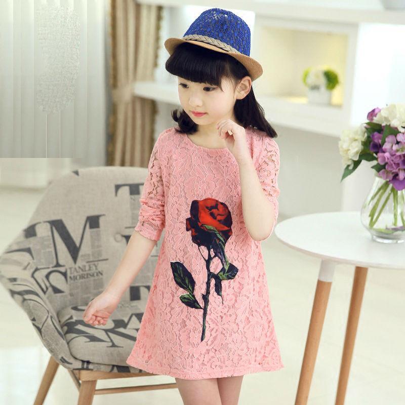 Yüksek Kalite Bebek Kız Dantel A-line Elbiseler Rahat Prenses Kız Elbise Çocuklar için Yaz Giysileri Elbise Kız Kore Tarzı