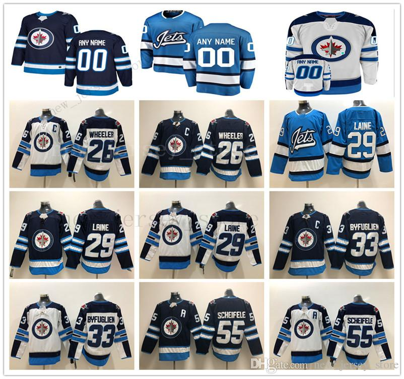07bab65ff Cheap 2019 New Light Blue Winnipeg Jets Hockey Jersey Navy White 29 Patrik  Laine 26 Blake Wheeler 33 Dustin Byfuglien 55 Mark Scheifele Jerseys