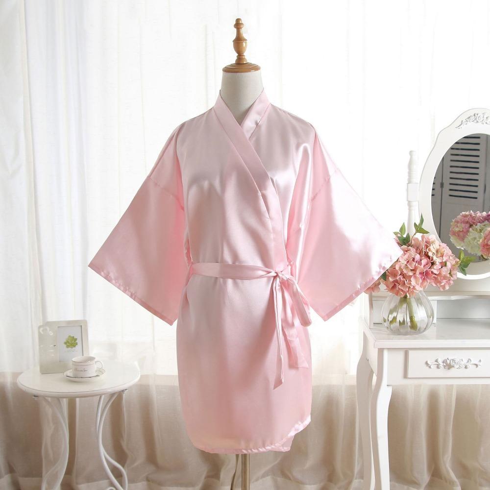 739e335d31576 New Women Satin Short Nightgown Kimono Robe Bathrobe Solid Pajamas Wedding  Bride Bridesmaid Sexy Dress Gown One Size Plus Size