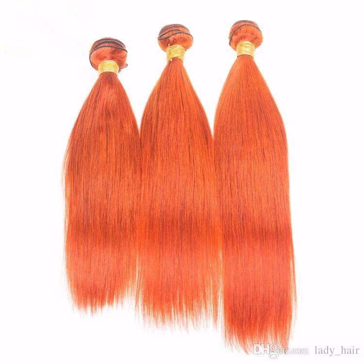 말레이지아 오렌지 인간의 머리 뭉치 가기 닫음 실키 스트레이트 순수 오렌지 색상 버진 인간의 머리카락 번들 4x4 레이스 클로저와 함께