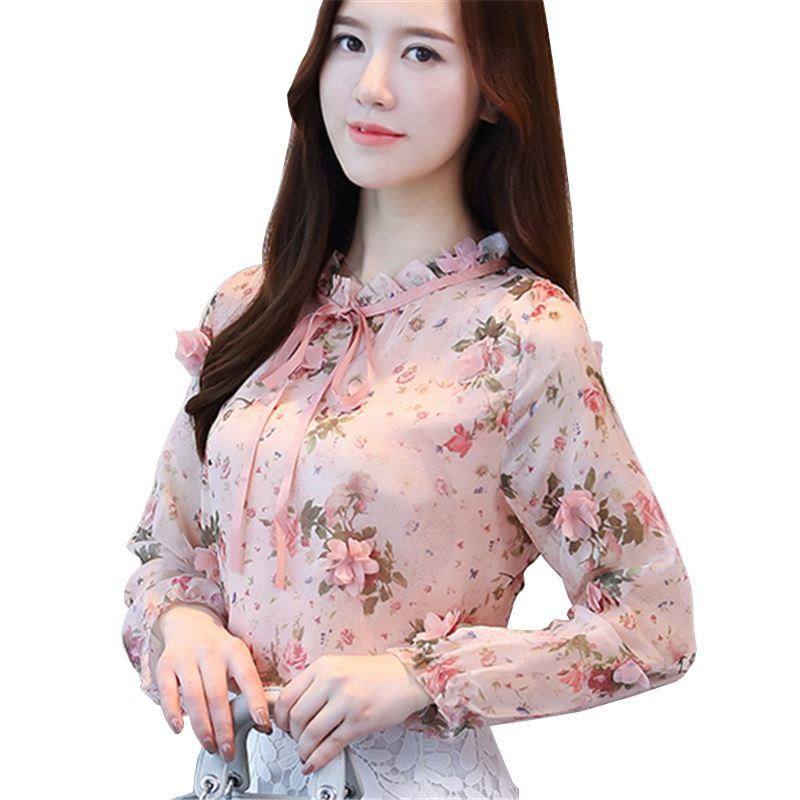 7d8bc3273b96 2019 Spring Autumn The New Korean Casual Chiffon Blouse Pink Blue Floral  Print Women Shirt Long Sleeve Appliques Women S Tops From Lin and zhang