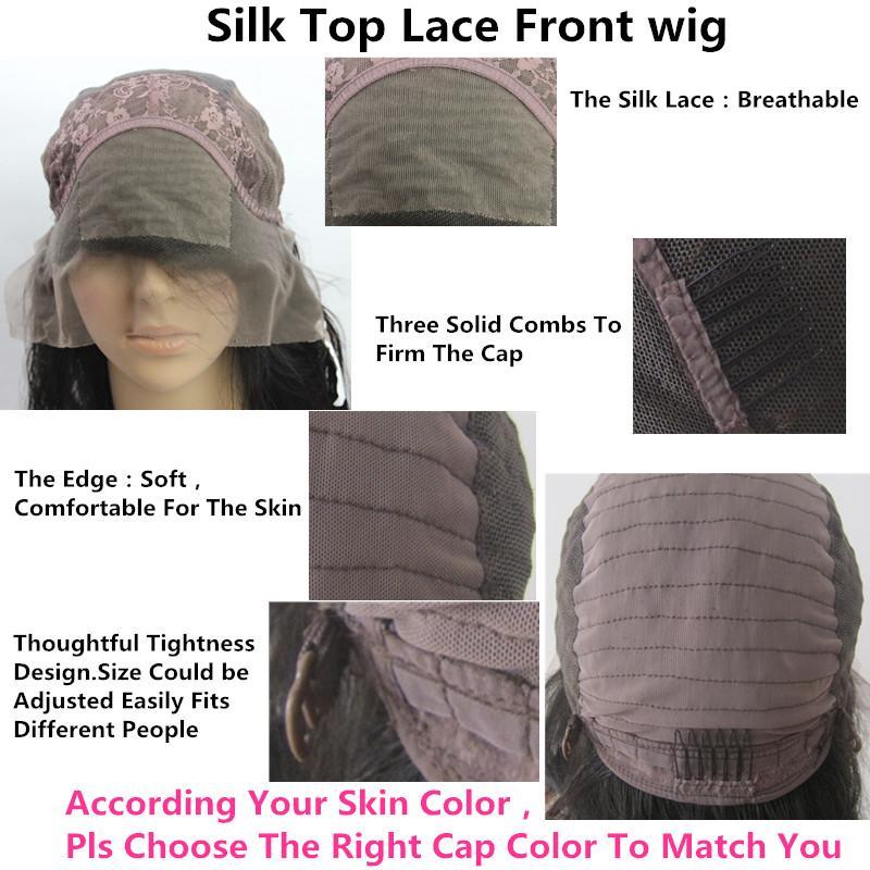 Peluca de pelo humano de encaje completo Peluca de seda superior Pelucas llenas sedosas llenas del cordón Pelo virginal brasileño 100% con flequillo para mujeres Color 33 #